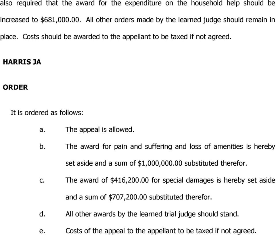 00 substituted therefor. c. The award of $416,200.00 for special damages is hereby set aside and a sum of $707,200.00 substituted therefor. d. All other awards by the learned trial judge should stand.