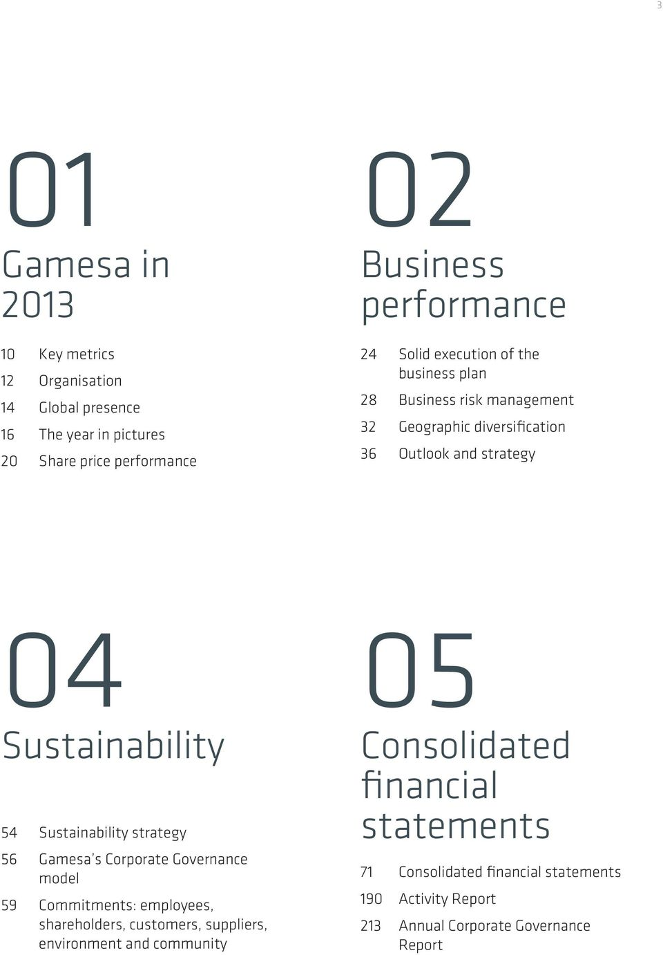 Sustainability 54 Sustainability strategy 56 Gamesa s Corporate Governance model 59 Commitments: employees, shareholders, customers,