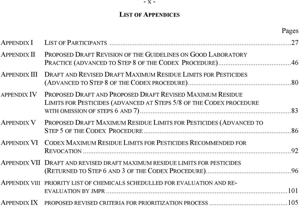 ..46 DRAFT AND REVISED DRAFT MAXIMUM RESIDUE LIMITS FOR PESTICIDES (ADVANCED TO STEP 8 OF THE CODEX PROCEDURE).