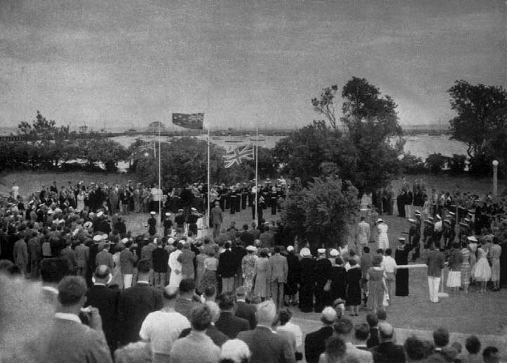 The Victory Ceremonies taking place on the lawns overlooking St. Kilda harborage. The surveying, marking and buoying of the courses were undertaken by the Royal n Navy from H.M.A.S. Lonsdale, Port Melbourne, which also supplied the starting vessels for the events.