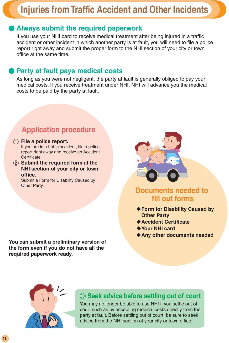Party at fault pays medical costs As long as you were not negligent, the party at fault is generally obliged to pay your medical costs.