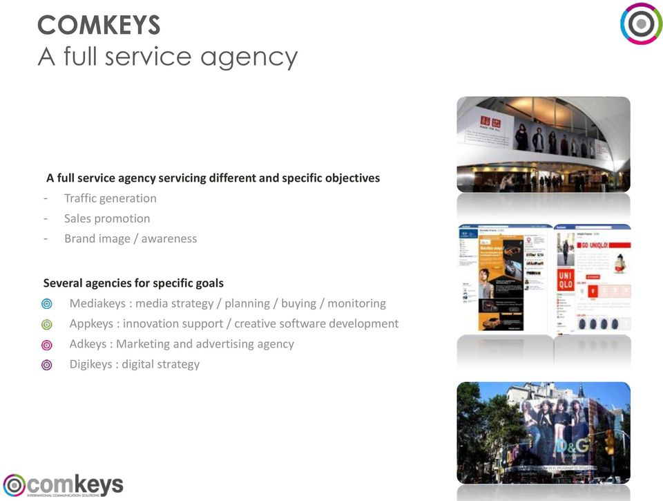 goals Mediakeys : media strategy / planning / buying / monitoring Appkeys : innovation support /