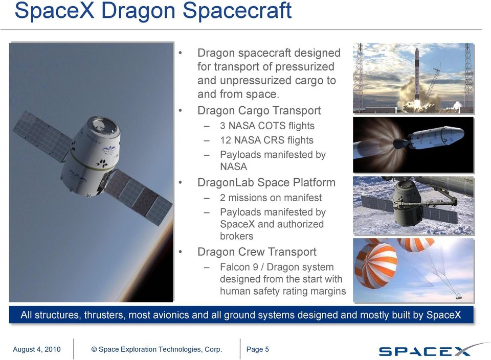 manifest Payloads manifested by SpaceX and authorized brokers Dragon Crew Transport Falcon 9 / Dragon system designed from the