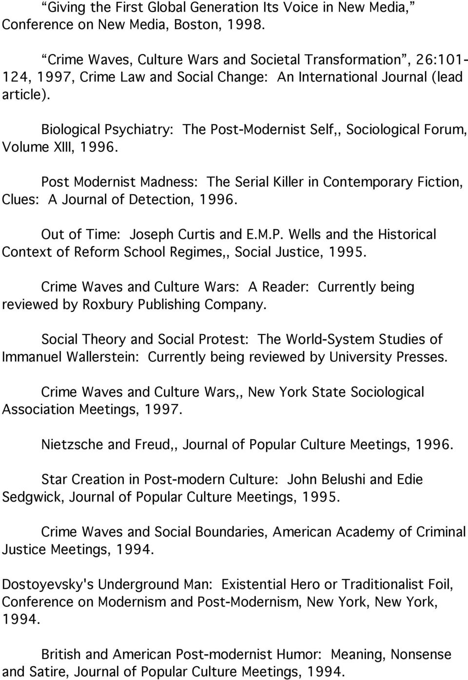 Biological Psychiatry: The Post-Modernist Self,, Sociological Forum, Volume XIII, 1996. Post Modernist Madness: The Serial Killer in Contemporary Fiction, Clues: A Journal of Detection, 1996.