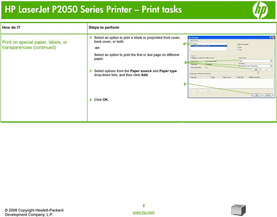 -or- Select an option to print the first or last page on different paper.