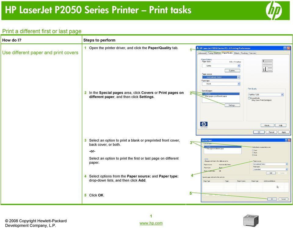 Select an option to print a blank or preprinted front cover, back cover, or both.