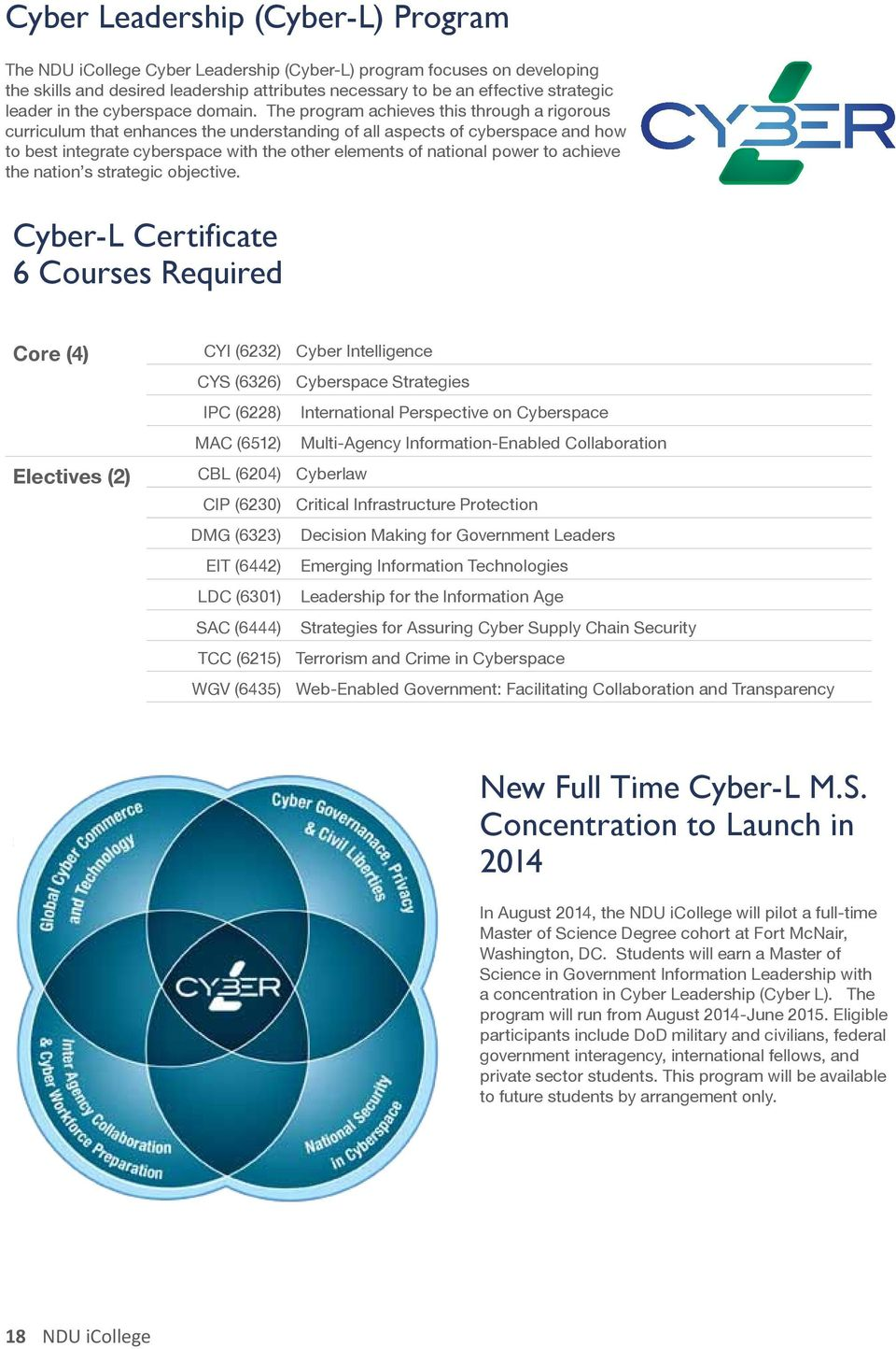 The program achieves this through a rigorous curriculum that enhances the understanding of all aspects of cyberspace and how to best integrate cyberspace with the other elements of national power to