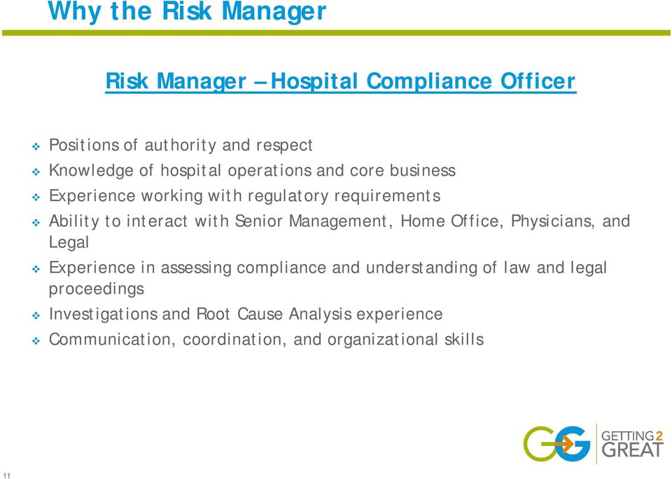 Senior Management, Home Office, Physicians, and Legal Experience in assessing compliance and understanding of law