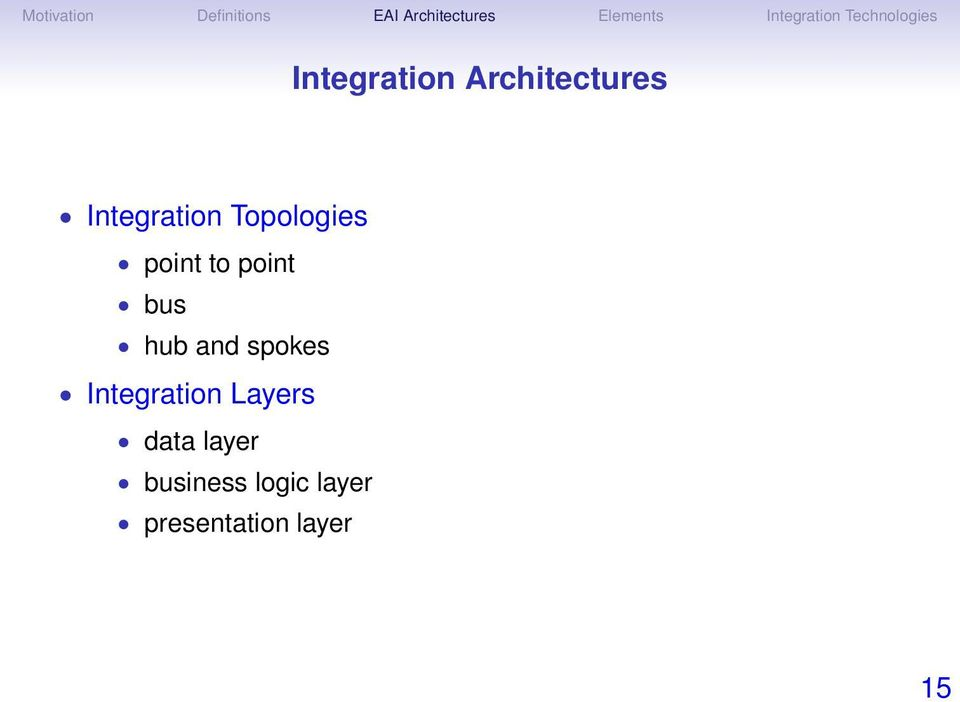 spokes Integration Layers data layer