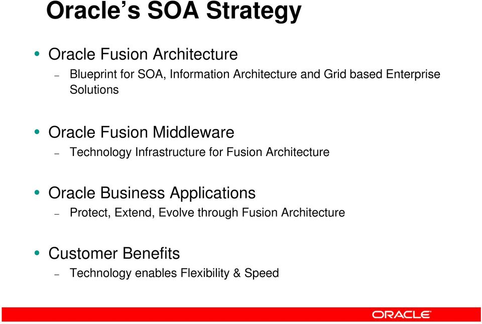 Infrastructure for Fusion Architecture Oracle Business Applications Protect, Extend,