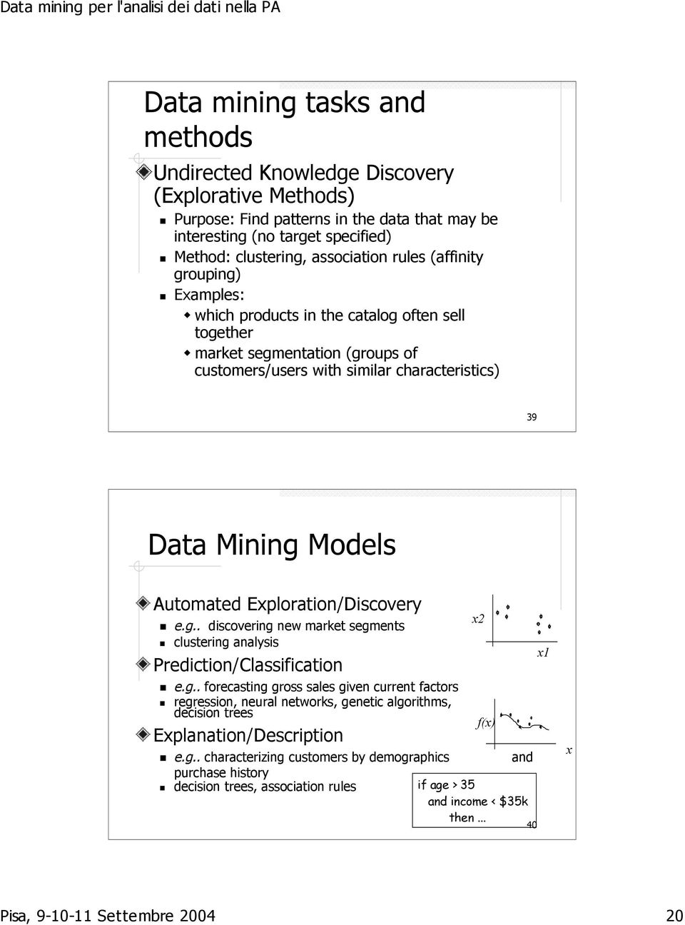 Exploration/Discovery e.g.. discovering new market segments clustering analysis Prediction/Classification e.g.. forecasting gross sales given current factors regression, neural networks, genetic algorithms, decision trees Explanation/Description e.