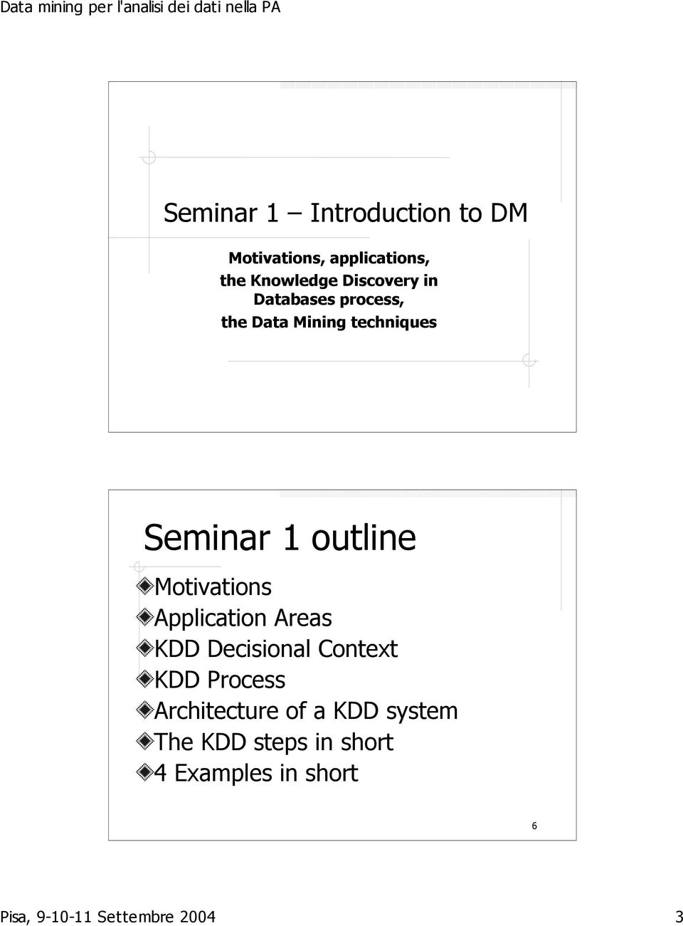 Motivations Application Areas KDD Decisional Context KDD Process Architecture