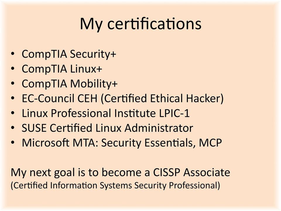 SUSE CerOfied Linux Administrator Microsom MTA: Security EssenOals, MCP My