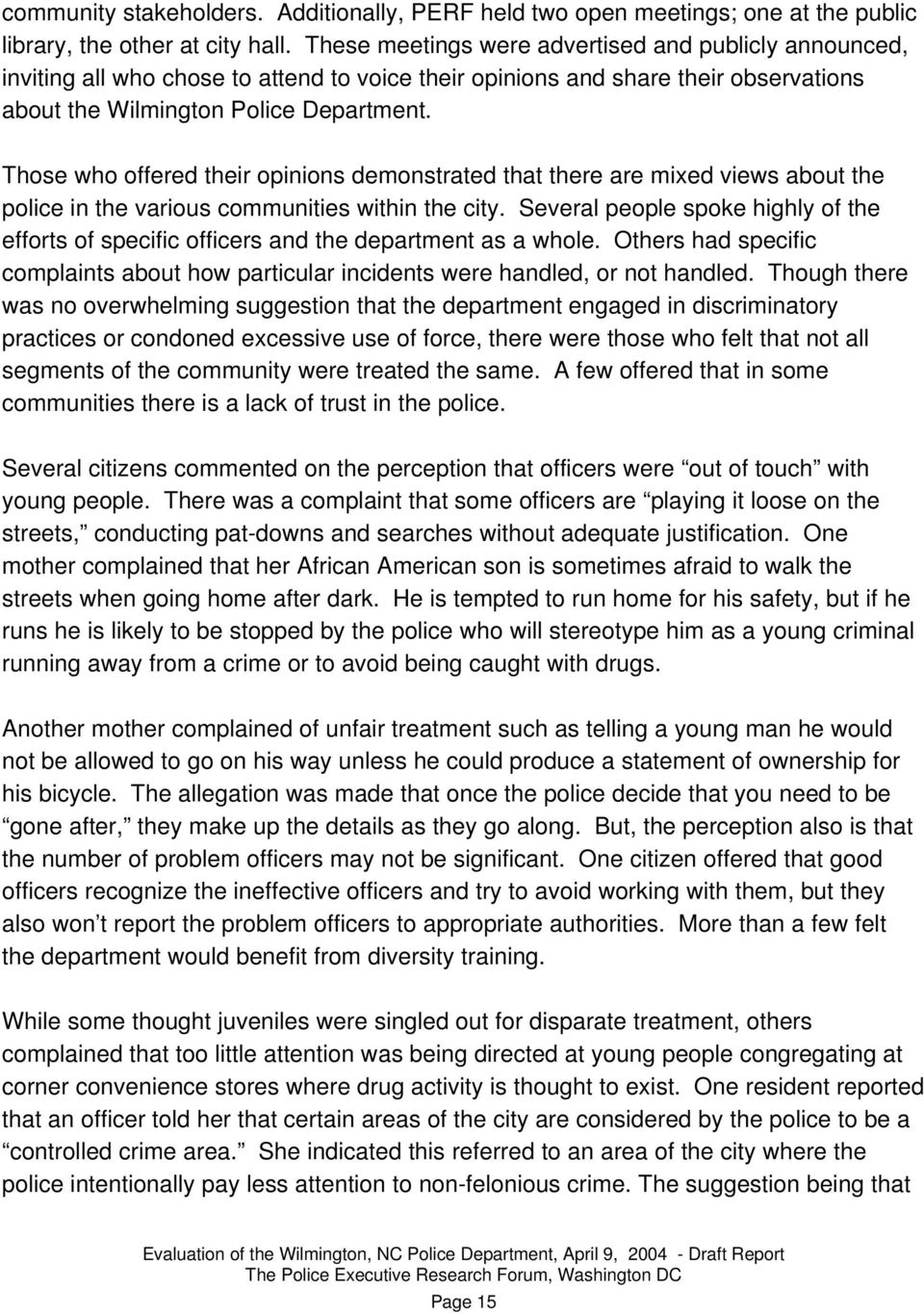 EVALUATION OF THE WILMINGTON, NORTH CAROLINA POLICE