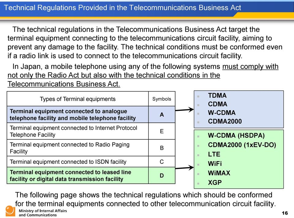 The technical conditions must be conformed even if a radio link is used to connect to the telecommunications circuit facility.