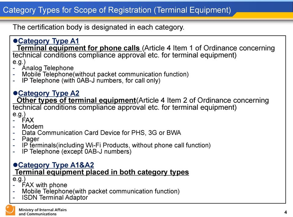 ry Type A1 Terminal equipment for phone calls (Article 4 Item 1 of Ordinance concerning