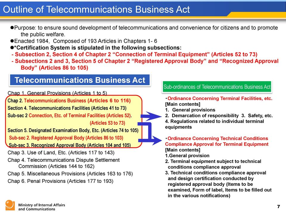 (Articles 52 to 73) - Subsections 2 and 3, Section 5 of Chapter 2 Registered Approval Body and Recognized Approval Body (Articles 86 to 105) Telecommunications Business Act Chap 1.