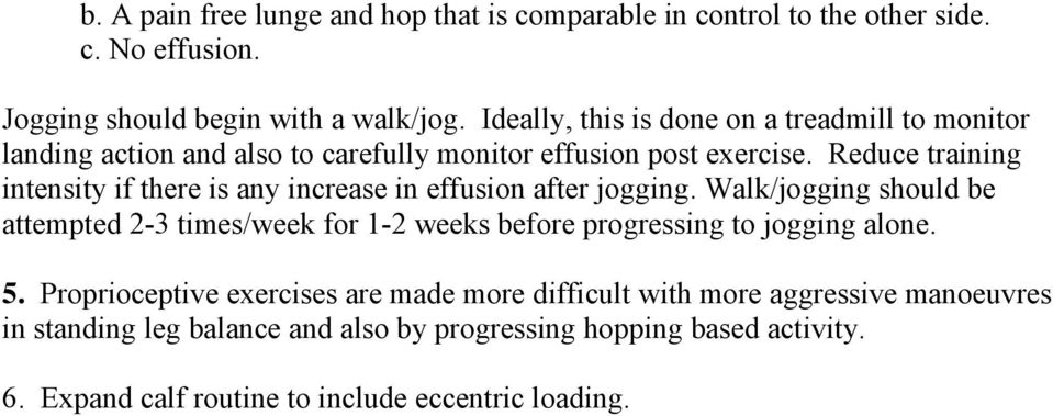 Reduce training intensity if there is any increase in effusion after jogging.