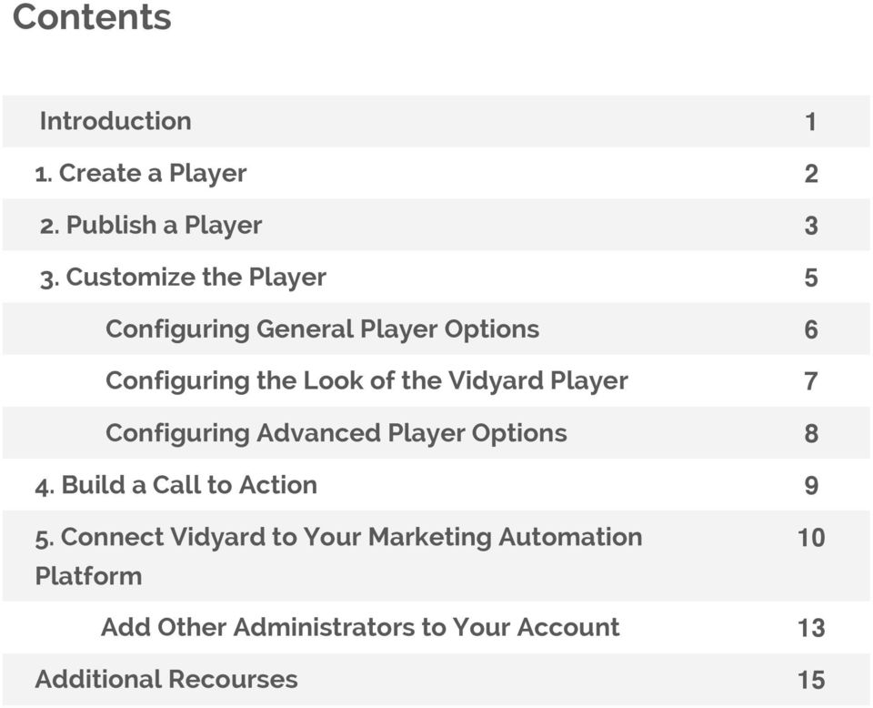 Vidyard Player 7 Configuring Advanced Player Options 8 4. Build a Call to Action 9 5.