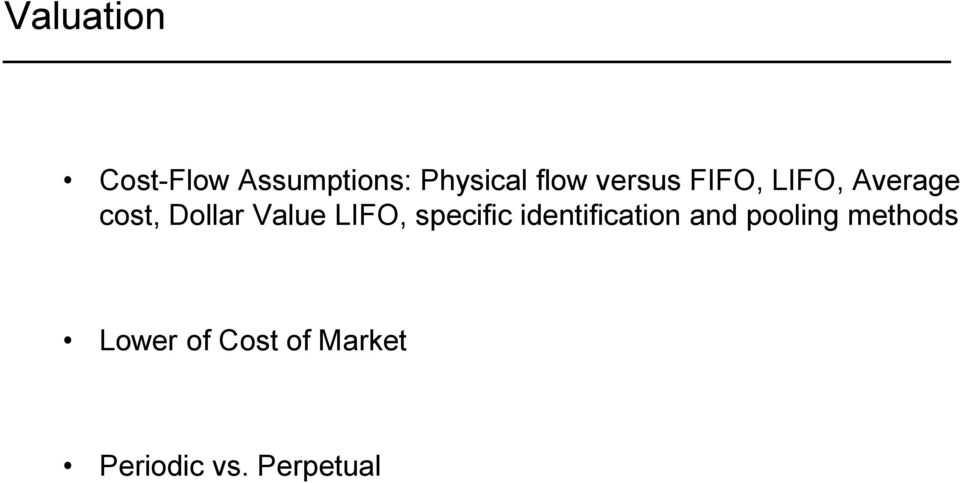 LIFO, specific identification and pooling