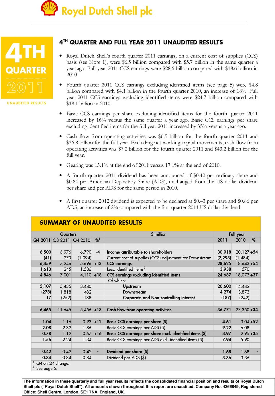 Fourth quarter 2011 CCS earnings excluding identified items (see page 5) were $4.8 billion compared with $4.1 billion in the fourth quarter 2010, an increase of 18%.