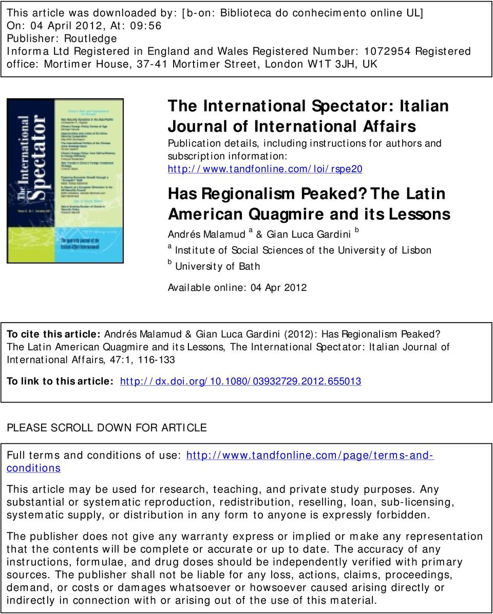 authors and subscription information: http://www.tandfonline.com/loi/rspe20 Has Regionalism Peaked?