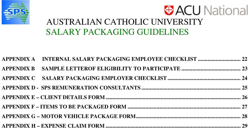 .. 23 APPENDIX C SALARY PACKAGING EMPLOYER CHECKLIST.