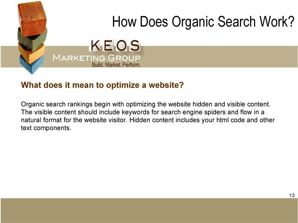 The visible content should include keywords for search engine spiders and flow in a