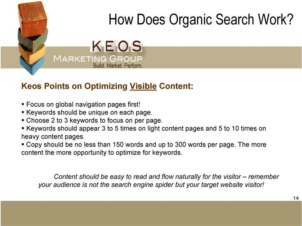 Keywords should appear 3 to 5 times on light content pages and 5 to 10 times on heavy content pages.