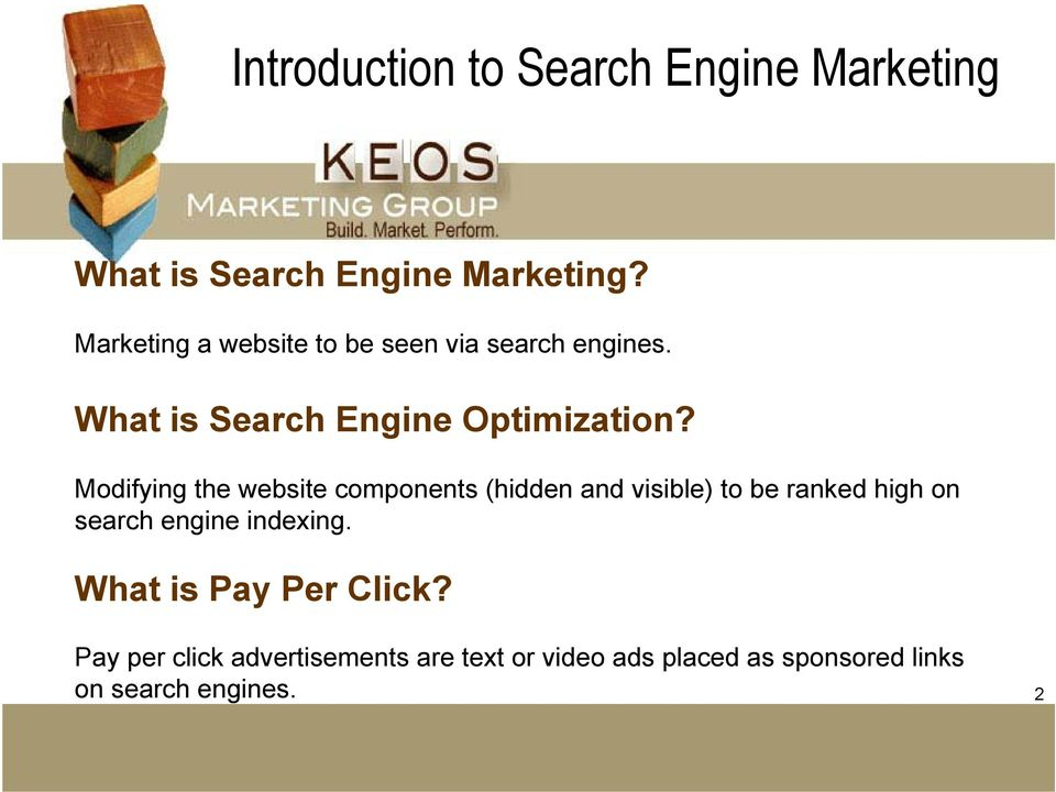Modifying the website components (hidden and visible) to be ranked high on search engine