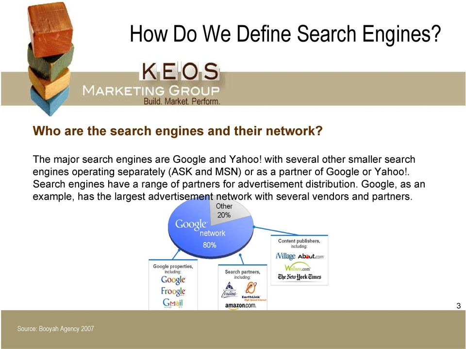 with several other smaller search engines operating separately (ASK and MSN) or as a partner of Google or