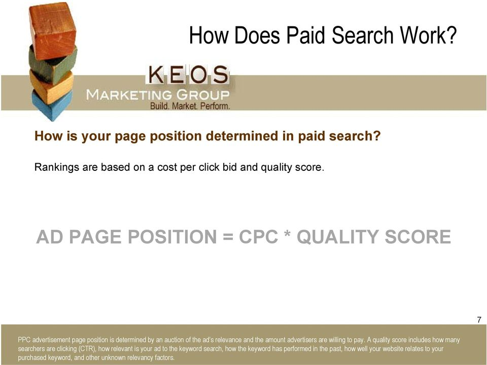 AD PAGE POSITION = CPC * QUALITY SCORE 7 PPC advertisement page position is determined by an auction of the ad s relevance and the amount