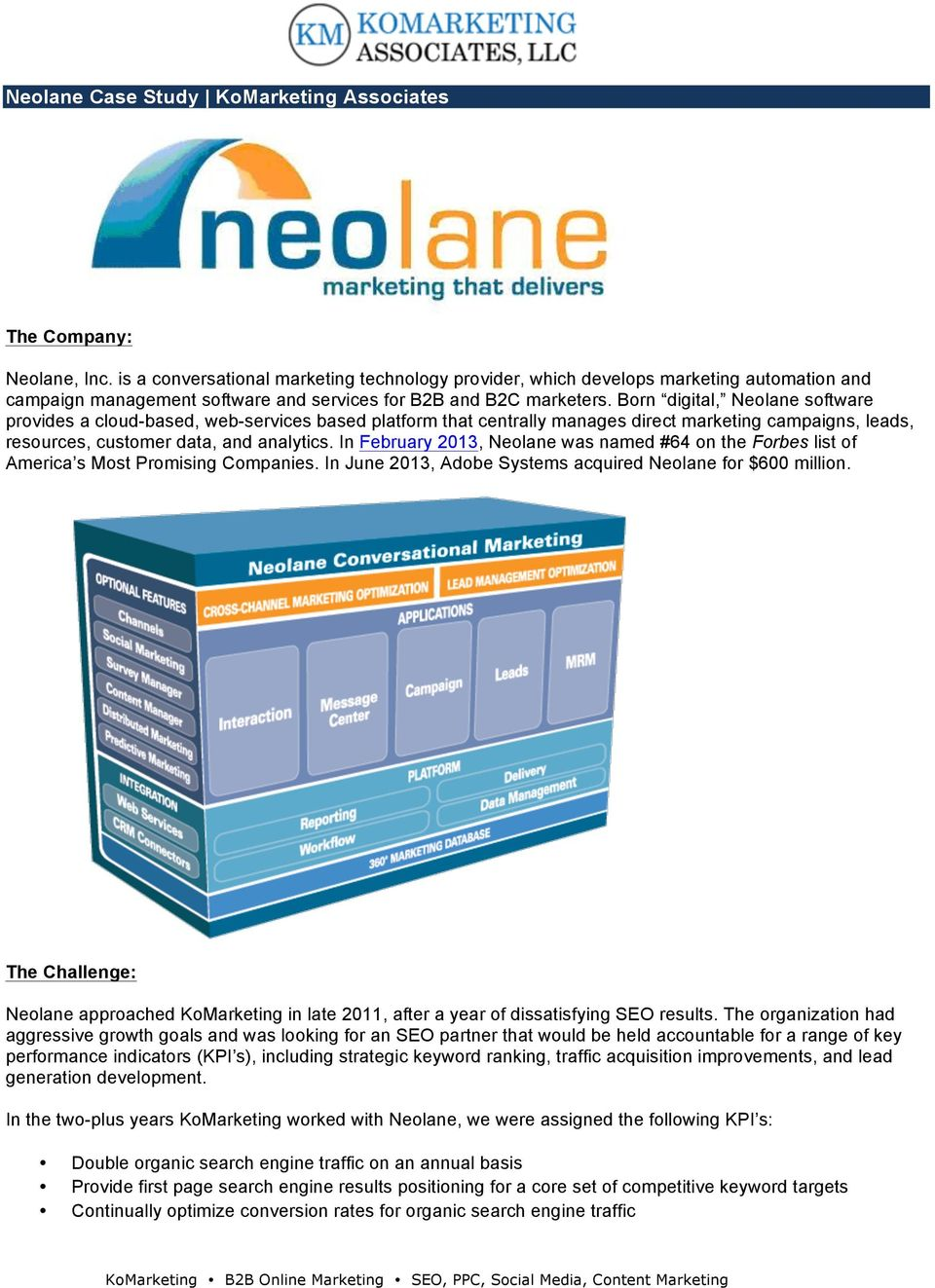 Born digital, Neolane software provides a cloud-based, web-services based platform that centrally manages direct marketing campaigns, leads, resources, customer data, and analytics.