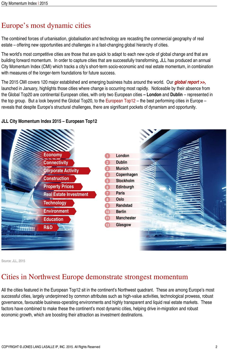In order to capture cities that are successfully transforming, JLL has produced an annual City Momentum Index (CMI) which tracks a city s short-term socio-economic and real estate momentum, in