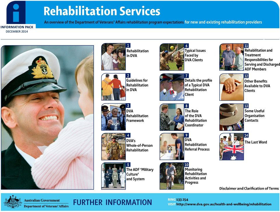 Typical DVA Rehabilitation Client 12 Other Benefits Available to DVA Clients 3 DVA Rehabilitation Framework 8 The Role of the DVA Rehabilitation Coordinator 13 Some Useful Organisation Contacts 4 DVA