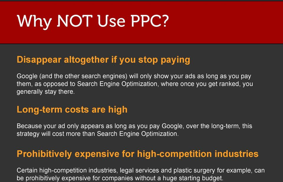 Optimization, where once you get ranked, you generally stay there.