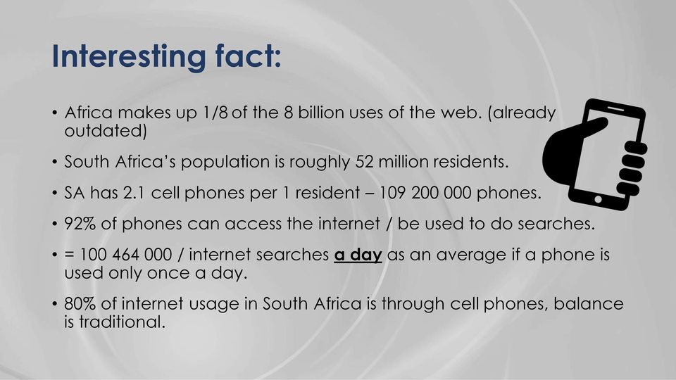 1 cell phones per 1 resident 109 200 000 phones. 92% of phones can access the internet / be used to do searches.