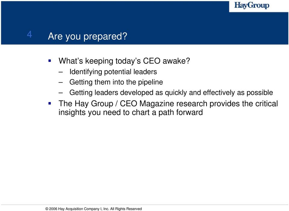 developed as quickly and effectively as possible The Hay Group / CEO Magazine