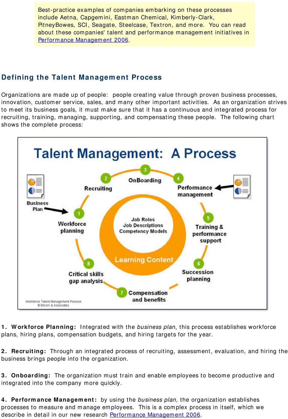 Defining the Talent Management Process Organizations are made up of people: people creating value through proven business processes, innovation, customer service, sales, and many other important