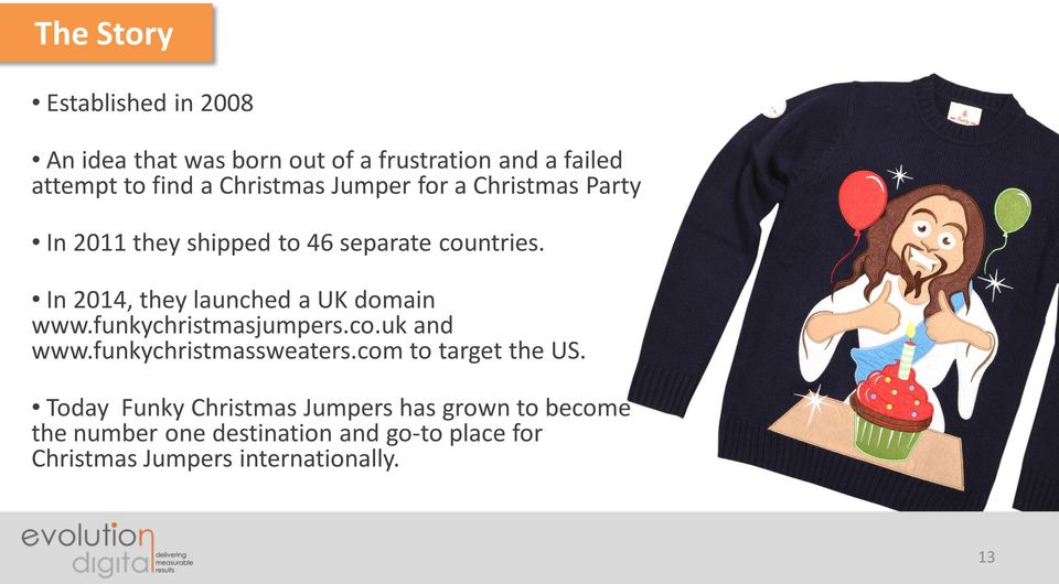 In 2014, they launched a UK domain www.funkychristmasjumpers.co.uk and www.funkychristmassweaters.