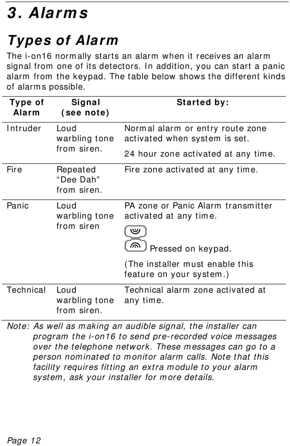Loud warbling tone from siren Started by: Normal alarm or entry route zone activated when system is set. 24 hour zone activated at any time. Fire zone activated at any time.