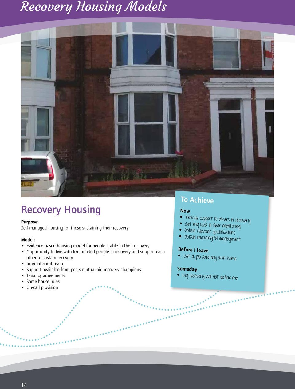 available from peers mutual aid recovery champions Tenancy agreements Some house rules On-call provision To Achieve Now Provide support to others in recovery