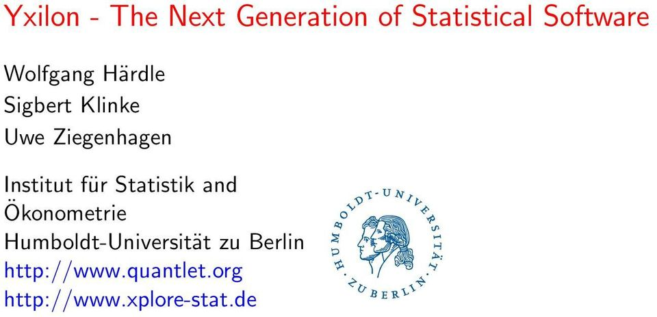 Institut für Statistik and Ökonometrie