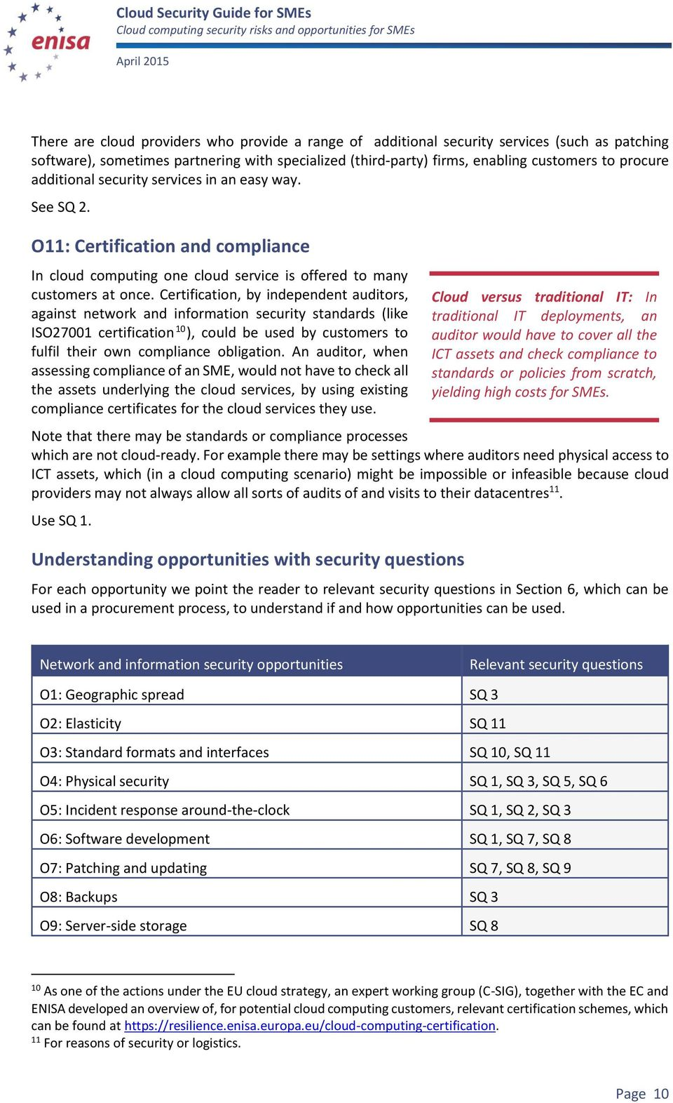 Certification, by independent auditors, against network and information security standards (like ISO27001 certification 10 ), could be used by customers to fulfil their own compliance obligation.