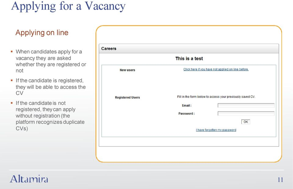 registered, they will be able to access the CV If the candidate is not