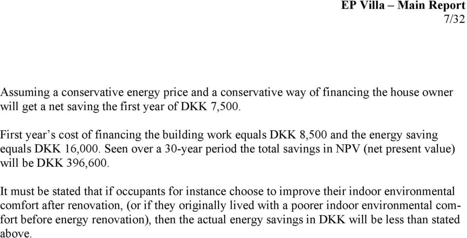 Seen over a 30-year period the total savings in NPV (net present value) will be DKK 396,600.
