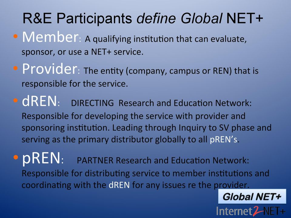 dren: DIRECTING Research and Educa8on Network: Responsible for developing the service with provider and sponsoring ins8tu8on.