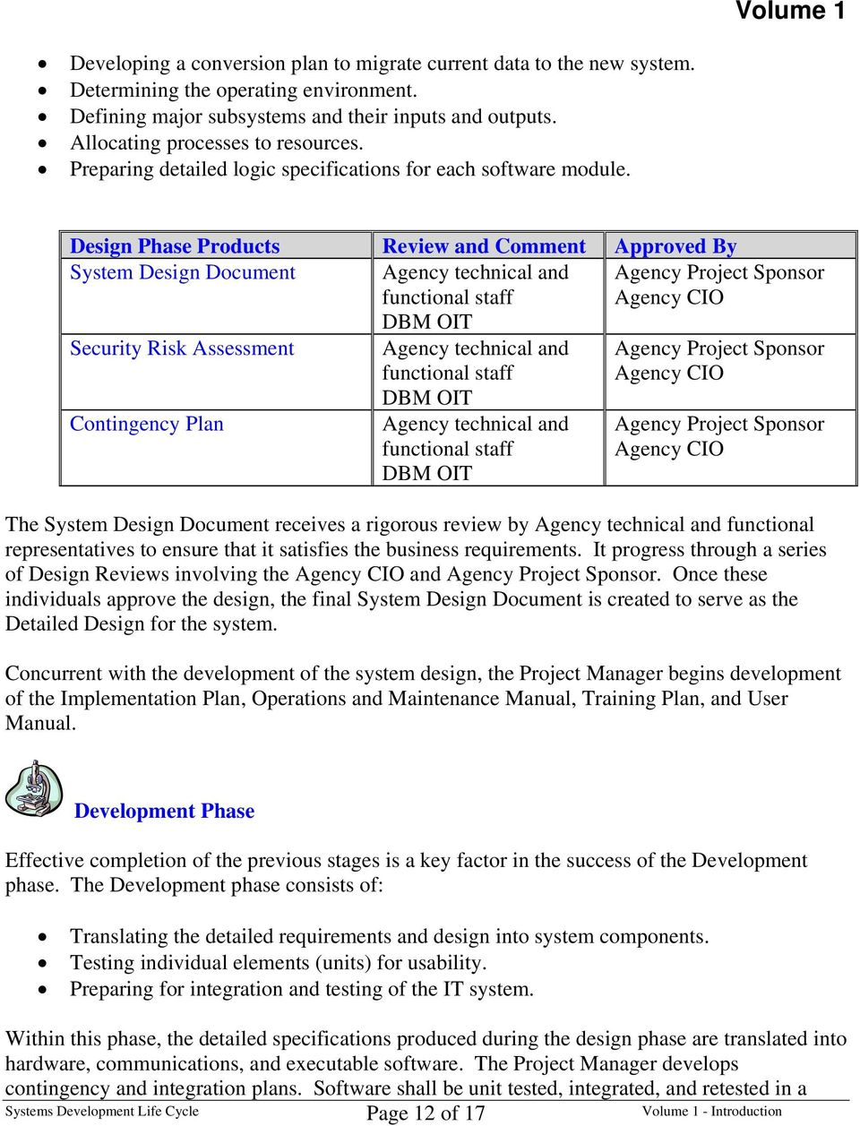 Design Phase Products Review and Comment Approved By System Design Document Security Risk Assessment Contingency Plan The System Design Document receives a rigorous review by functional