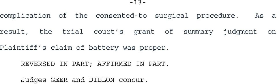 on Plaintiff s claim of battery was proper.
