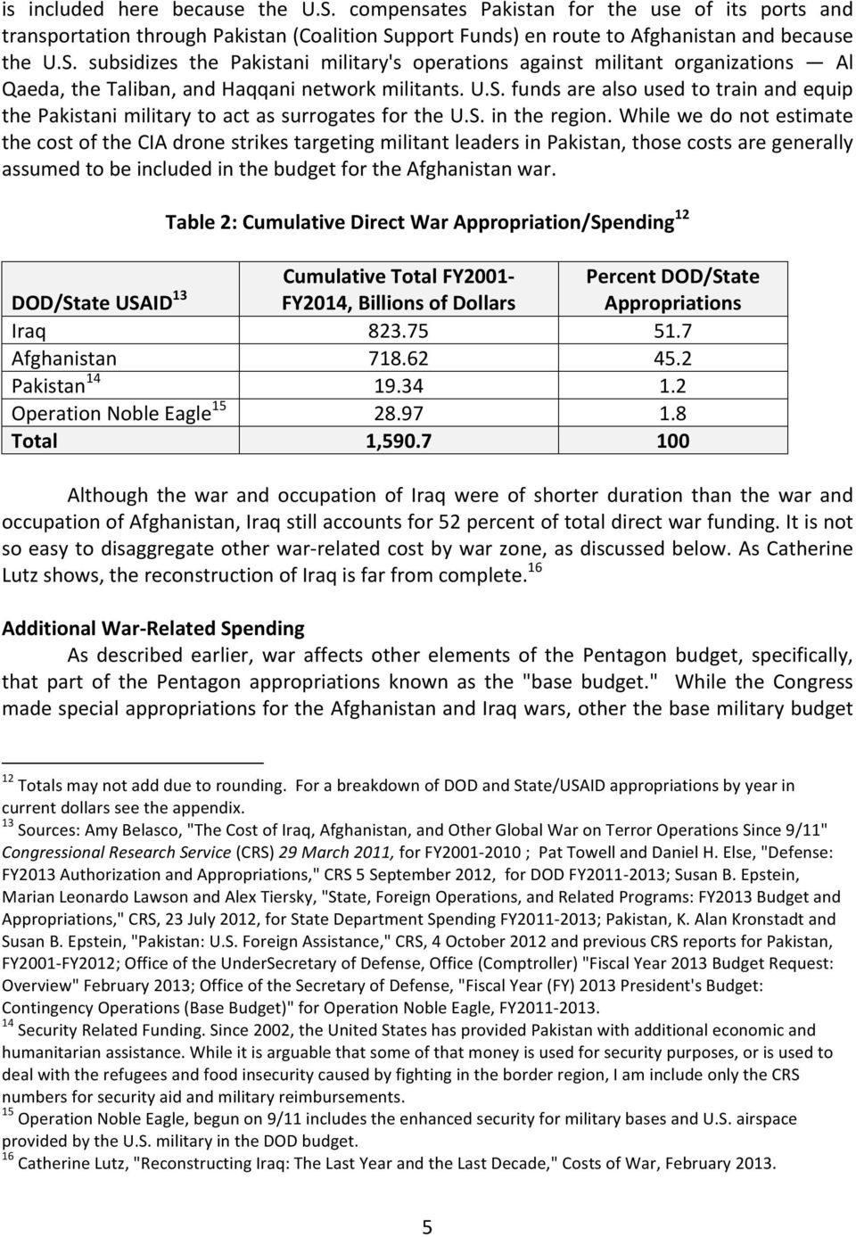 While we do not estimate the cost of the CIA drone strikes targeting militant leaders in Pakistan, those costs are generally assumed to be included in the budget for the Afghanistan war.